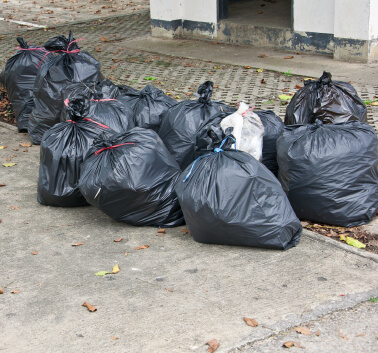 West London collecting rubbish